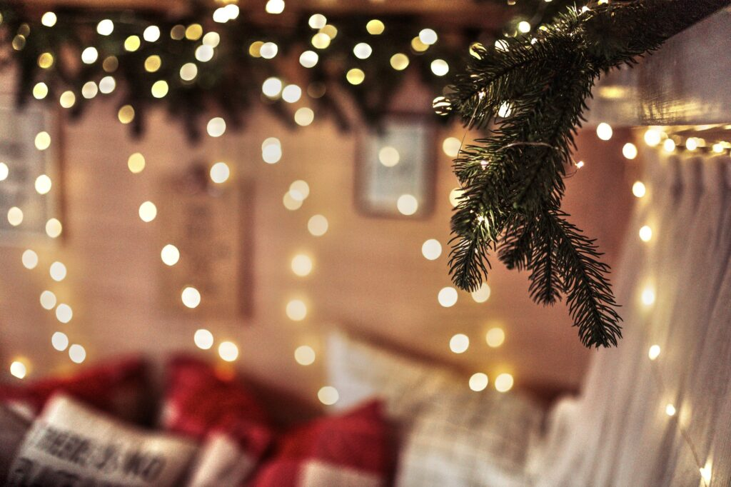 cozy christmas life in trailer